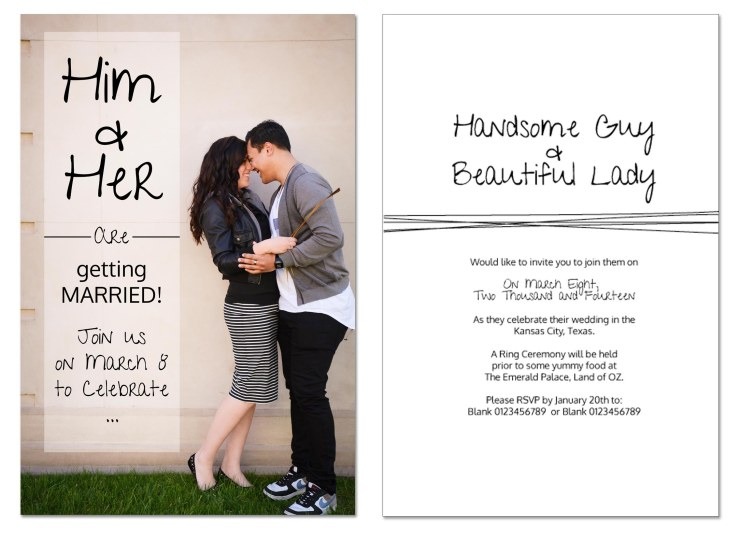Front and back custom design of main wedding invitation (yes the original copy does have real names, times and locations on it ;) ). We also designed extra cards to slot in with the invite for location and other details.
